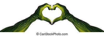 monstruo, manos, forma corazón