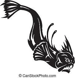 monstruo marino, -, vector, illustration., vinyl-ready.