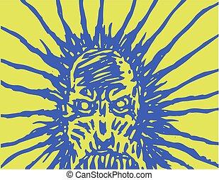monstruo, nightmares., ilustración, cara, vector, mal