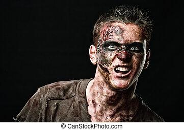 monstruo, rugido, zombi