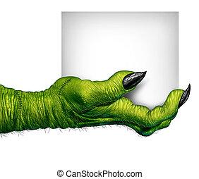 monstruo, tenencia de la mano, señal