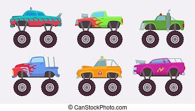 monstruo, truck., ruedas grandes, de, asustadizo, coche, automóvil, juguete, para, niños, vector, ilustraciones