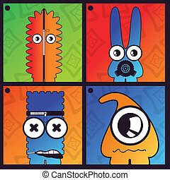 monstruos, -, vector, conjunto