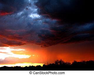monsun, solnedgang