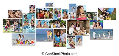 montáž, šťastný, lifestyle, rodina, dva, rodiče, děti, i kdy