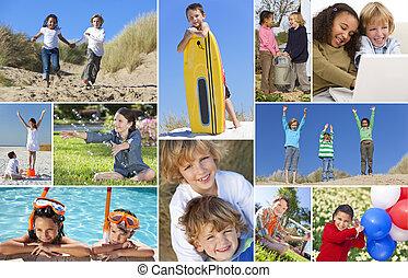 montázs, aktivál, boldog, játék, gyerekek