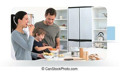 montázs, közül, család, konyhában