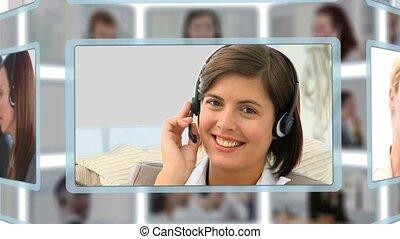 montázs, közül, emberek társalgás, telefonon, az irodában
