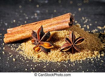 montão, de, açúcar marrom, varas canela, e, anis estrela