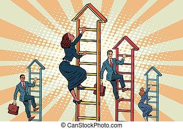 montées, escaliers haut, equipe affaires