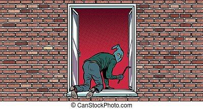 montées, fenêtre, cambrioleur, voleur
