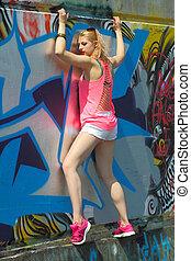 montées, mur, graffiti, branché, émotif, blond, imprudent