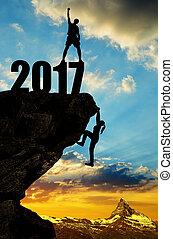 montées, randonneur, 2017, nouvel an