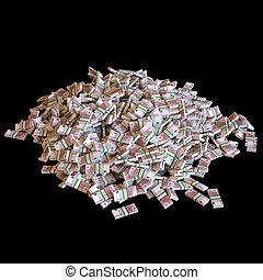 montón, de, billetes de banco de euro