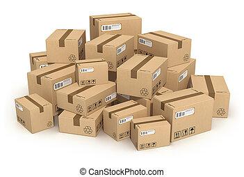 montón, de, cajas de cartón
