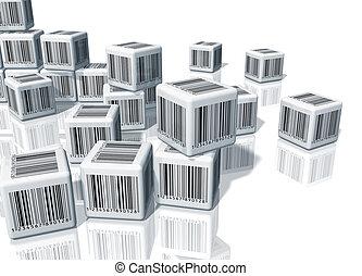 montón, de, cubos, con, barcodes