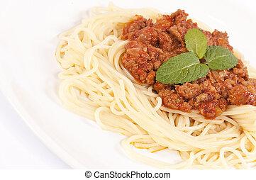 montón, de, espaguetis
