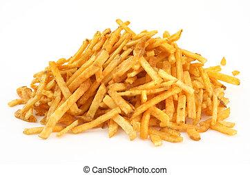 montón, de, papas fritas