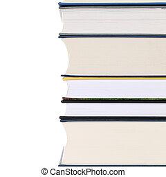montón libros, aislado, blanco
