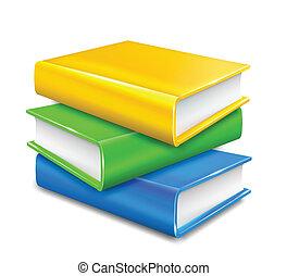 montón libros, blanco, fondo., vector
