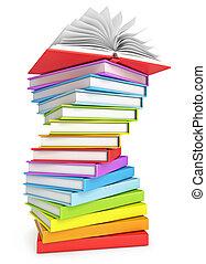 montón libros, con, libro abierto, en, el, cima
