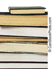 montón libros, en, un, fondo blanco
