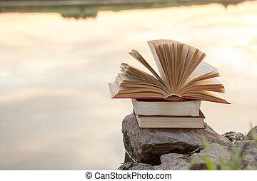 montón libros, y, abierto, libro de tapa dura, en, confuso, paisaje de la naturaleza, fondo, contra, cielo de puesta de sol, con, light., espacio de copia, espalda, a, school., educación, fondo.