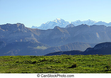 Mont-Blanc and Tournette mountains landscape from semnoz near Annecy, savoy, france