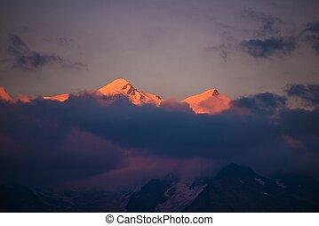 Mont Blanc at Sunset - Mont Blanc Massif at Sunset near...