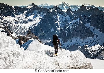 Mont Blanc, Chamonix, French Alps. France. - tourists...
