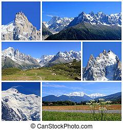 Mont-Blanc collagei, France - Collage of Aiguille Du Midi,...