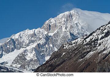 Mont Blanc de Courmayeur. Massive south-east face of the mountain