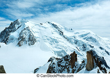 Mont Blanc mountain massif summer landscape(view from...