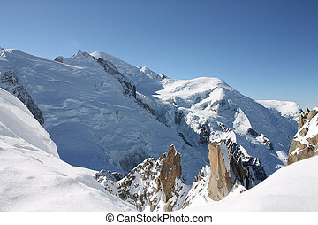 Mont Blanc peak in winter