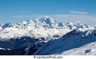Mont blanc sunset view snowy mountain from Mont Vallon Meribel 3 vallees