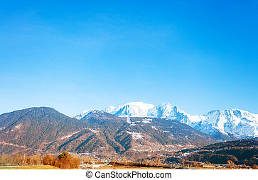 View of Mont-Blanc mountain peaks from Passy in Upper Savoy department in the Auvergne-Rhone-Alpes region in south-eastern France