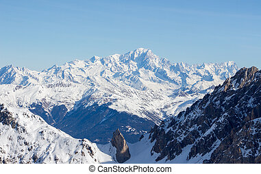 Mont blanc view snowy mountain from Mont Vallon Meribel 3 vallees