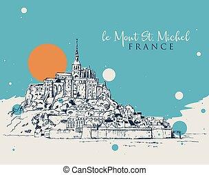 mont, bosquejo, ilustración, michel, dibujo, santo, le
