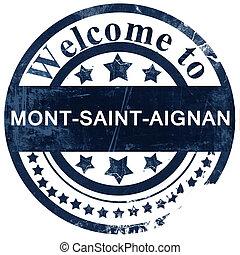 mont-saint-aignan stamp on white background