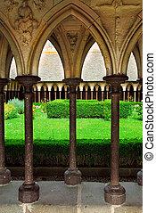 Cloister garden in Mont Saint Michel abbey in France