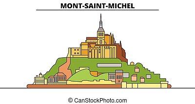 mont-saint-michel, illustration., viaje, bahía, vector,...