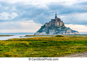 Mont Saint-Michel in morning haze - View at the Mont...