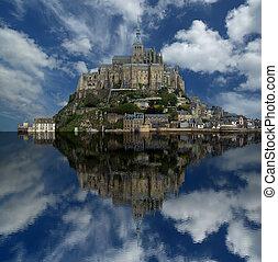mont saint-michel, normandie, france--one, av, den, mest,...