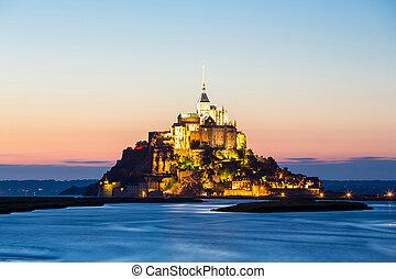 Mont Saint Michele, France - Mont Saint Michele at dusk...