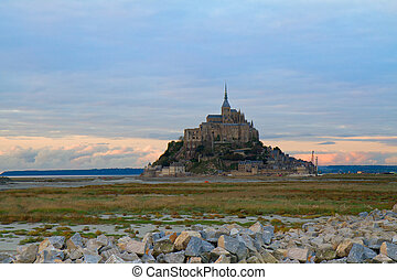 Mont St Michel at sunset , France