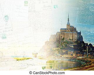 Mont St Michel at sunset , France - Vintage postcard of Mont...