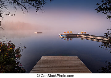 mont-tremblant, lac-superieur, ドック, ケベック, カナダ