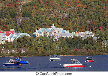 Mont Tremblant lake and boats