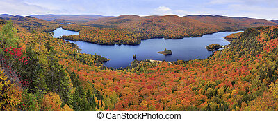 Mont Tremblant National Park panoramic view with autumn colors