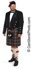 montañés, blanco, falda escocesa